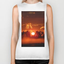 Flaming Horses over the Foggy Sunrise Biker Tank