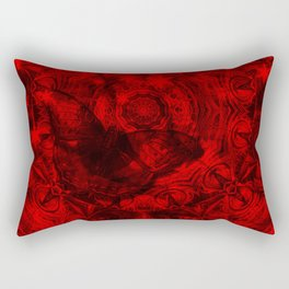 Butterfly and fractal in black and blood red Rectangular Pillow
