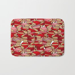 Book Collection in Red Bath Mat
