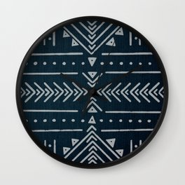 Mudcloth White Geometric Shapes in Indigo Blue Wall Clock