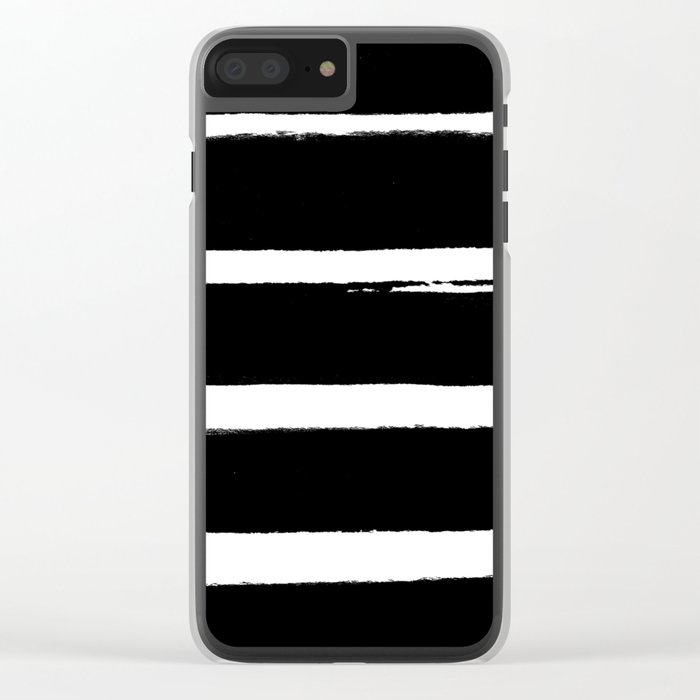 BLK Stripes Clear iPhone Case