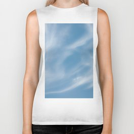 Blue and White Softlight Cloudscape Biker Tank