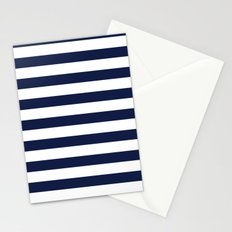 Nautical Navy Blue and White Stripes Stationery Cards
