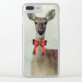 Christmas Deer Holiday Greetings Clear iPhone Case
