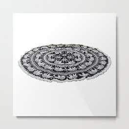 Indian Elephant Bohemian Psychedelic Beach Round Tapestry  Metal Print