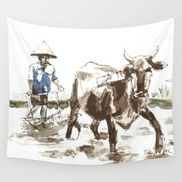 Vietnamese Farmer Wall Tapestry