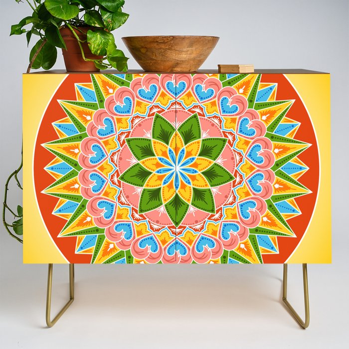 Costa_Rica_Folk_Pattern__Decorated_painting_wheel_of_coffee_ox_cart_Credenza_by_Patterns_Journey__Gold__Walnut