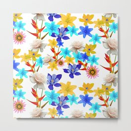 Multi Color floral texture Metal Print