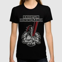 Knight in shimmering armor protection courage gift T-shirt