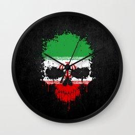 Flag of Iran on a Chaotic Splatter Skull Wall Clock