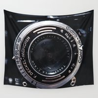 vintage camera Wall Tapestries featuring Camera by Katherine Ridgley