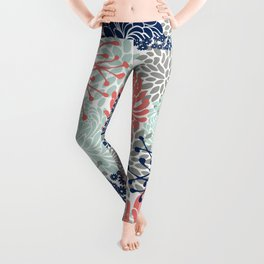 Floral Print - Coral Pink, Pale Aqua Blue, Gray, Navy Leggings