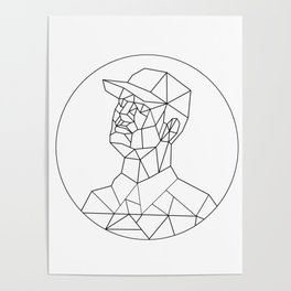 Union Worker Looking Up Low Polygon Black and White Poster