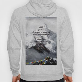 Serenity Prayer With Panoramic View Of Everest Mountain Hoody