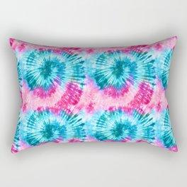 Summer Vibes Tie Dye Spirals in Pink Blue Rectangular Pillow