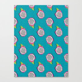Dragonfruit retro style pattern tropical fruits vegan art print exotic throwback 80s Canvas Print