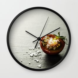 Fresh grape tomatoes with salt Wall Clock
