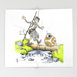 Bb8 and Rey Crossover Calvin and Hobbes Throw Blanket