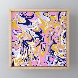 pink, navy & gold marble Framed Mini Art Print