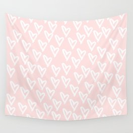 White hearts Wall Tapestry