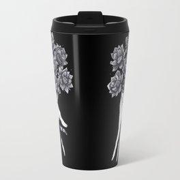 Hand with lotuses on black Travel Mug