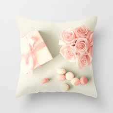 Pink Roses, macarons and gifts Throw Pillow
