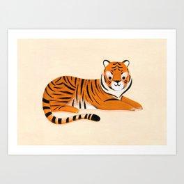 Lounging Tiger Art Print