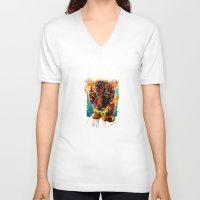 tiger V-neck T-shirts featuring tiger by ururuty