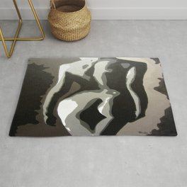 Abstract Female Silhouette Sepia toned Shadows Light study Rug
