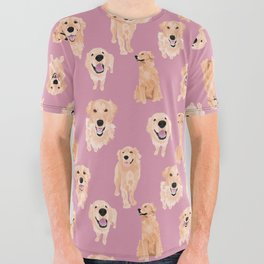 Golden Retrievers on Pink All Over Graphic Tee