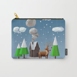 Geometric, low poly winter landscape Carry-All Pouch