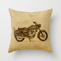 ducati Throw Pillows featuring Ducati motorcycle Meccanica by Larsson Stevensem