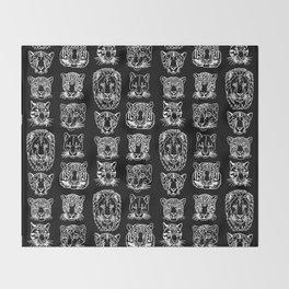 Kickass Kitties - white on black Throw Blanket