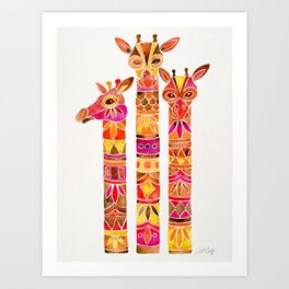 Giraffes – Fiery Palette Art Print