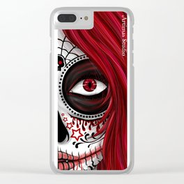 Red Sugar Skull Clear iPhone Case