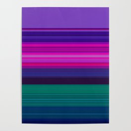 Vibrant Purple Pink and Green Stripes Poster