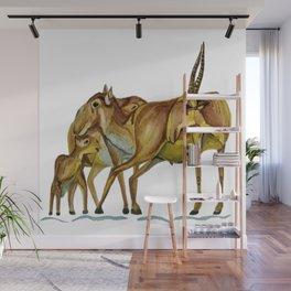 Family of Saiga Antelope (Watercolour) Wall Mural