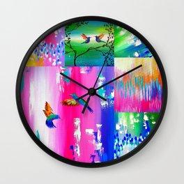 Hummingbird Collage Wall Clock