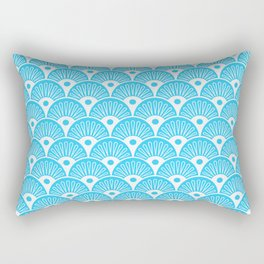 Seashells Mermaid scales in white on aqua teal background Rectangular Pillow