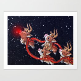 Santa's Backups Art Print