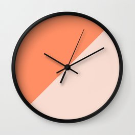 Bright Orange & Nude pink - oblique Wall Clock