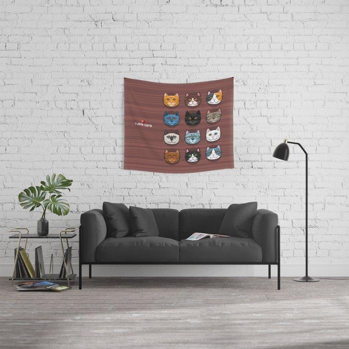 I love cats Wall Tapestry