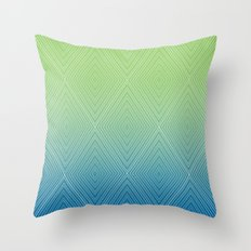 Diamonds (GreenFlashSnorkelBlue Fade) Throw Pillow