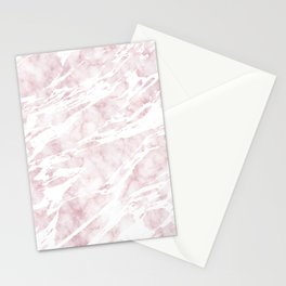Girly Pink and White Modern Marble Stationery Cards