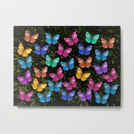 Colorful Butterflies Flying Pattern Metal Print