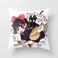 kiki Throw Pillows featuring Kiki by IdentityPollution