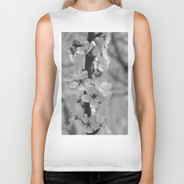 Blossoms in black and white Biker Tank