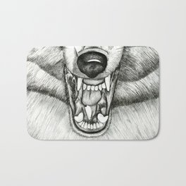 Pencil Drawing - Wolf Growl Bath Mat