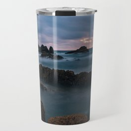 Foggy Corbiere Lighthouse in Jersey Travel Mug