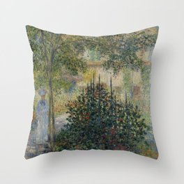 "Claude Monet ""Camille Monet in the Garden at Argenteuil"" Throw Pillow"
